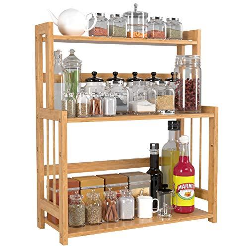 HOMECHO 3 Tier Herb & Spice Rack, Portaspezie di Bambù Free Standing con Altezza Regolabile, Portaspezie Mensola con Ripiani in Bambù per Cucina, Bagno e Toletta