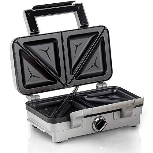 Aquila Waffeleisen Irons, 2 Scheiben-Sandwich-Toaster, Non-Stick Teller Grill MakerGriddle Toasty Maker, Edelstahl, for einzelne Waffeln, Paninis, Hash Browns AQUILA1125