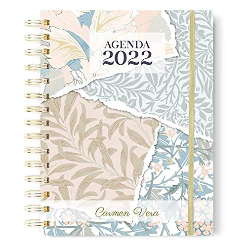 Onepersonal - Agenda Anual 2022 Personalizada   Agenda Interior un Día Página - Flores en Portada y Diseño Minimalista   Tapa Dura con Personalización de Nombre en Stamping