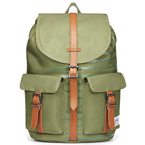 KAUKKO Rucksack Damen Herren Business Rucksäcke mit Laptopfach - Vintage Mädchen Daypack für Uni & Alltag (Armee Grün JNL-E10-08-FBA)