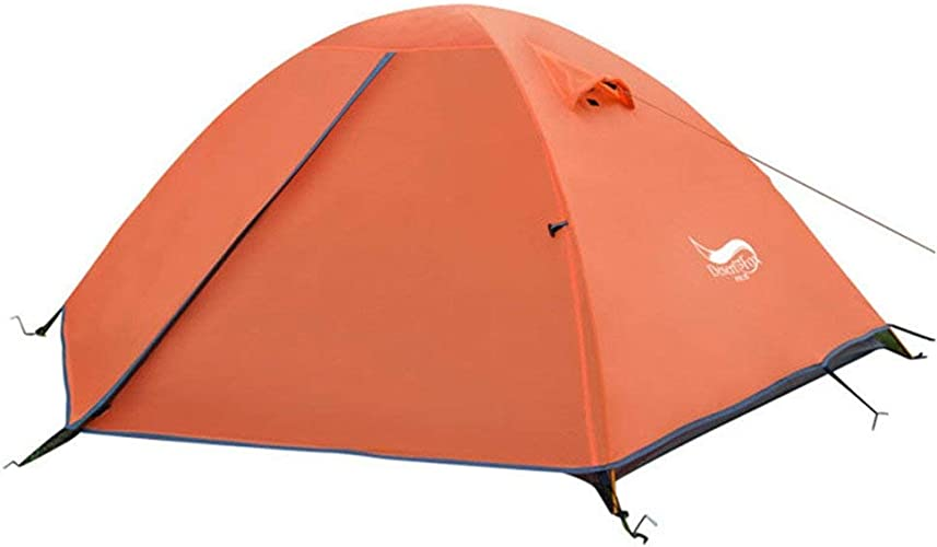 Sortie Udstyr, Tente de Camping Pour 2 Personnes Tente de Prougeection Contre la Pluie Contre la Pluie Double Saison 4 Tentes Doivent être Assemblées Pour les Sports de Plein Air, Kejing Miao, Orange