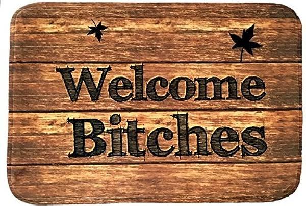 Assaoy Funny Doormats Personalized Welcome Bitches Mat Durable Machine Washable Indoor Outdoor Door Mat 18x30 Inch