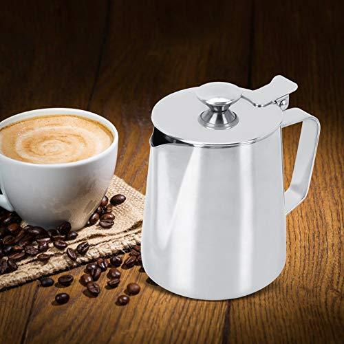 Evonecy Jarra de Espuma de Leche, Taza de Espuma de café de Acero Inoxidable, con Tapa, Jarra de Espuma de Leche Suave, Uso de Restaurante para té, Leche
