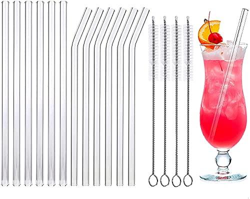 Glas Strohhalme Wiederverwendbar,Glas Strohhalme Set 12 Stöcke Glas Strohhalme Transparent Glas Trinkhalme mit 4 Reinigungsbürsten für Cocktails,Smoothie,Säfte,Tee (6 gerade 6 Kurven)