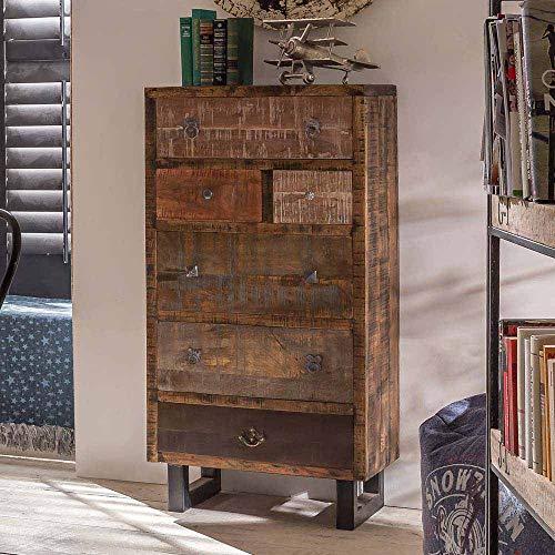 Pharao24 Schlafzimmer Kommode aus Mangobaum Recyclingholz Schubladen