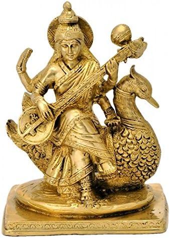Gangesindia Devi Saraswati Max 86% OFF New product!! Maa Playing Statue Brass Veena
