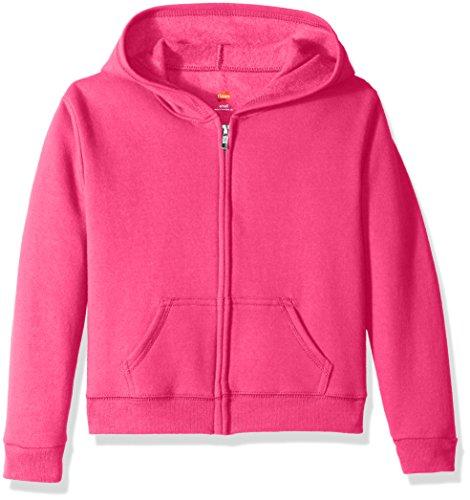Hanes Big Girls' Comfortsoft Ecosmart Full-Zip Fleece Hoodie, Amaranth, M