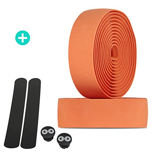 URBAN ZWEIRAD Reißfestes Fahrrad Lenkerband inkl. Endstopfen und Klebestreifen - extra rutschfest und einfach anzubringen - 200 cm x 3 cm - 3 mm Stärke (Orange, Elastisch)