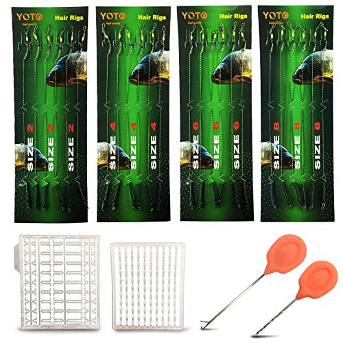 YOTO Carp Fishing Hair Rigs - 24Pcs High Carbon Steel Curved Barbed Carp Hook Swivel Boilies Fishing Rigs with Braided Thread Line Rolling Carp Fishing Accessories, Size 2 4 6 8