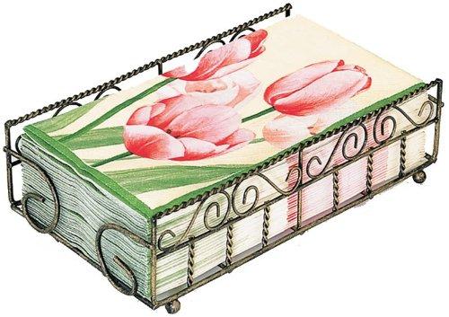 Boston International Guest Towel Caddy, Garden Gate Design in Antique Brass by Boston International