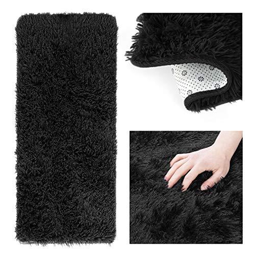 AmeliaHome Alfombra Shaggy de pelo largo, 50 x 200 cm, antideslizante, rectangular, color negro