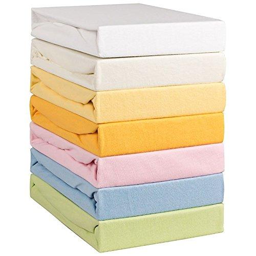 Aminata Kids Spannbettlaken 70x140 Baby-Bett Baumwolle weiß - Fein-Jersey - Spannbetttuch Kinder-Bett - Bettlaken mit Rundumgummizug - Atmungsaktiv mit Öko - Tex