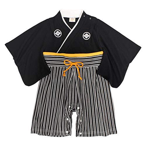 袴 ロンパース 男の子 ベビー 赤ちゃん はかま 和装 カバーオール フォーマル TM001 ブラック 80cm