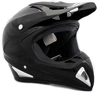 Adult Motorcycle Helmet Off Road MX ATV Dirt Bike Motocross UTV - Gloss Black (Large) + FREE Goggles