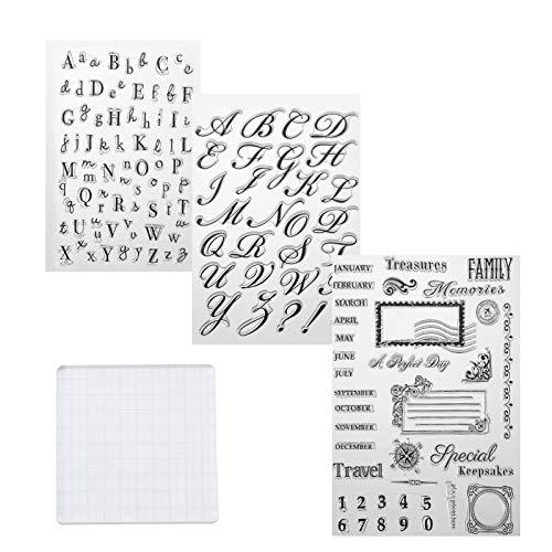 SUSSURRO Tampons pour Scrapbooking, Clear Stamps en Silicone Transparent, Tampon Lettre Alphabet Moules Chiffres en Forme Alphabets pour Décoration de Pâte à Sucre, Gâteau, Carte de Noël
