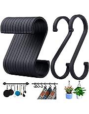 ACMETOP S-krokar, 12-pack aluminium S-formade krokar, matt finish S-krokar för hängande krukor och stekpannor, växter, kaffekoppar, kläder, handdukar i kök, sovrum, badrum, kontor och trädgård (matt svart)