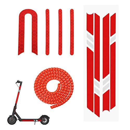 Yungeln 3er Set Scooter Ersatzteil Zubehör 2 Stücke Scooter Reflektor Sticker + 1M Kabelschlauch für Xiaomi 1S / M365 / Pro Scooter - Rot