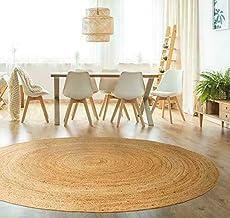 100% Natural Jute Rug Carpet Handmade Round Shape Bisat Aljut Revirsable Rustic Look (120 x 120 cm (4 Feet Round))