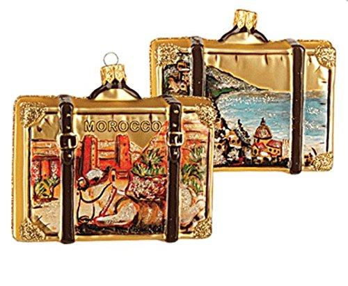 Morocco Suitcase Polish Glass Christmas Ornament Moroccan Travel Souvenir 051