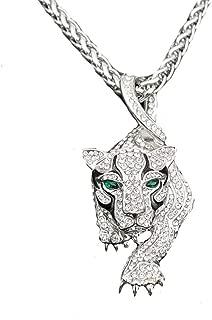 Hip Hop Men Jewelry Titanium Steel Personality Green Eye Cheetah Pendant Necklace