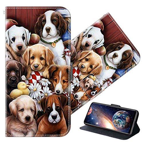 Cherfucome Funda para Xiaomi Mi Mix 3 Carcasa Libro Flip Case Magnético Funda de Cuero PU Carcasa Xiaomi Mi Mix 3 Funda Móvil Case Flip Leather Wallet [B02*Perros]