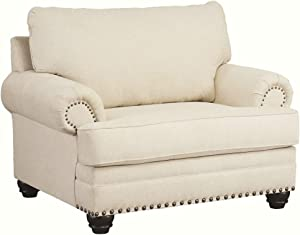 Signature Design by Ashley - Harrietson Oversized Chair w/ Nailhead Trim, Off-White