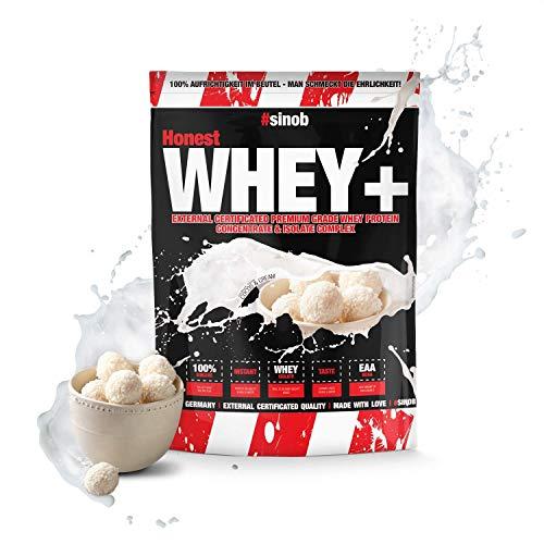 sinob Honest Whey Protein - Cocos & Cream - 1 x 1000 g. 12,5{8b643bd2e048e3027d86732200c43dd0d46ef6454e30c833e6d11dabec0cc796} Isolate Anteil. Instant lösliches Eiweißpulver mit BCAA & EAA \'Hergestellt in Deutschland\'