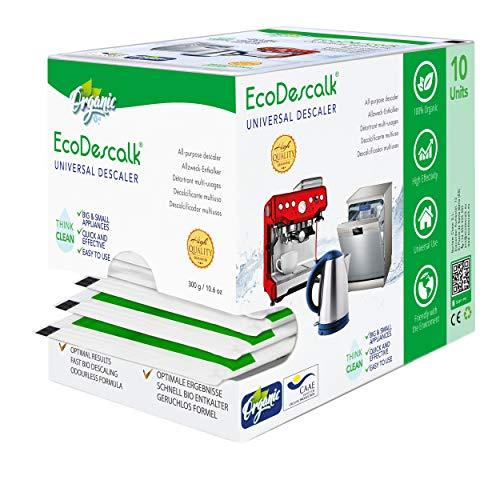 EcoDescalk Universal Ökologisches Pulver, 10 Beutel. 100{136f0110396203d55ad822181d3526f0c085b3f331c79eb275d83da6dded5e2e} Natürlicher Entkalker. Kalklöser geeignet für Wasserkocher, Waschmaschinen, Geschirrspüler.