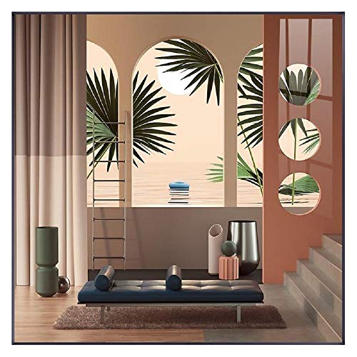 Renovación interior del espacio nórdico Pintura en lienzo Carteles e impresión Arte de pared único Cuadros Cuadrados para sala de estar Dormitorio Pasillo 60x60cm Sin marco