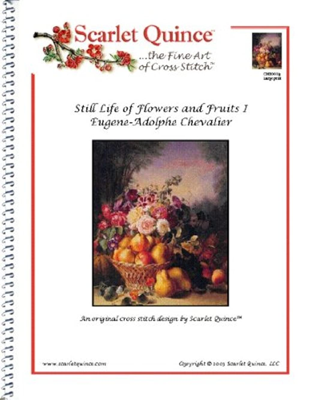Scarlet Quince CHE001lg Still Life of Flowers and Fruits I by Eugene-Adolphe Chevalier Counted Cross Stitch Chart, Large Size Symbols