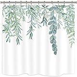 Riyidecor Grüne Blätter Duschvorhang Aquarell Frühling Pflanzen Zweig Blumenstrauß Stoff Wasserdicht Home Badewanne Dekor 12 Pack Kunststoff Haken 183 x 183 cm