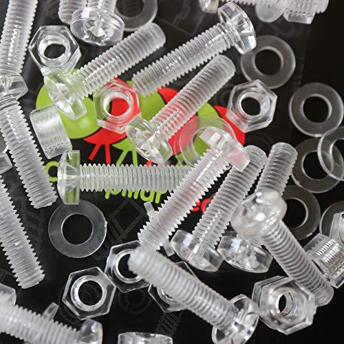 Paquete de 20 tornillos y tuercas, Arandelas, transparentes, de plástico acrílico. M5...