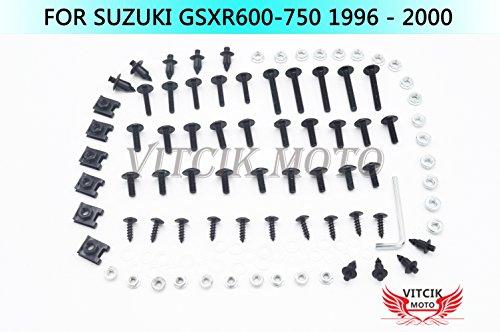 VITCIK Full Fairings Bolt Screw Kits for Suzuki GSXR 600 750 1996 1997 1998 1999 2000 GSXR 600 750 96-00 Motorcycle Fastener CNC Aluminium Clips (Black & Silver)
