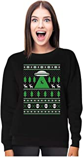 UFO Alien Reindeer Abduction Ugly Christmas Sweater Women Sweatshirt