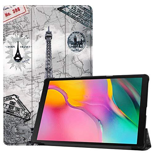 Epicgadget Schutzhülle für Samsung Galaxy Tab A 10.1 2019 SM-T510 / SM-T515 (dünn, dreifach faltbar) Mehrfarbig Eifelturm-Design