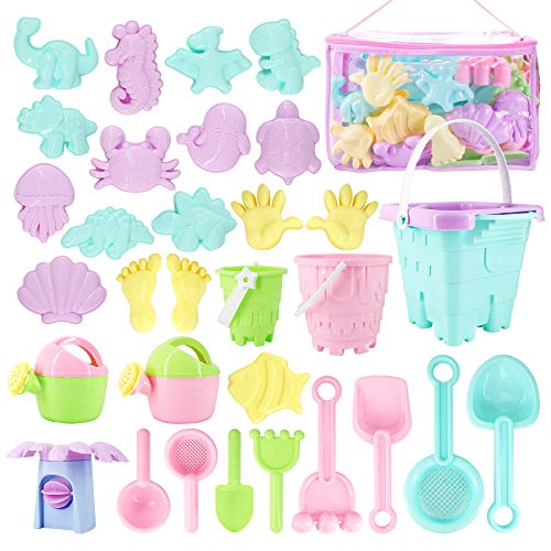 Beach Toys Kids Sand Toy Set,33 PCS Including Beach Bucket, Water Wheel, Watering Can, Shovel, Rake, Sea Animal Molds and Storage Bag, Eco-Friendly Sandbox for Toddlers Kids Outdoor Toys