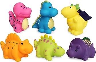 JUNSHEN Bath Toys Floating Dinosaur Bath Toys(6PCS),Baby Soft Bath Time Toys,Bathtub Learning Dinosaur Bath Toys and Bathr...