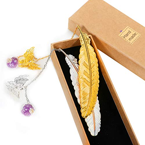 XSEINO Metal Feather Bookmark Gift Box, with 3D Butterfly and Dried Flower Bead Charms, A Suitable Gift for Women, Girls, Kids, Readers