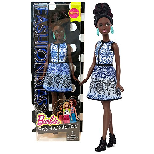 Mattel Year 2015 Barbie Fashionistas Series 30cm Doll - African American PETITE (DMF27) doll in Blue Brocade Dress with Earrings