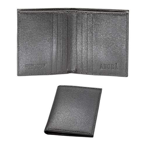 Anorà, Mini cartera de hombre vertical de piel auténtica, color negro, fabricada en Italia, con y sin monedero, con bloqueo RFID, pequeña y delgada.