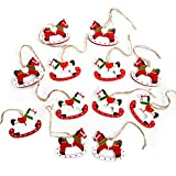 15Kleine caballo balancín Navidad colgante en rojo naranja blanco madera caballo caballo regalo colgante para colgar o en el árbol de Navidad Regalos o de Give Away Árbol de Navidad