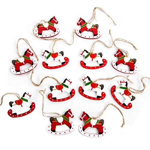 30 ciondoli in legno a forma di cavallo a dondolo di colore rosso, arancione, bianco, da appendere all'albero di Natale oppure per decorare i regali o come decorazioni natalizie