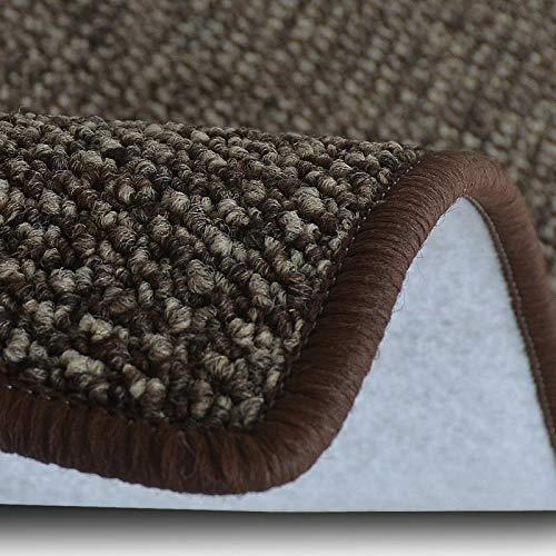 casa pura Teppich Läufer Carlton | Flachgewebe dezent Gemustert | Teppichläufer in vielen Größen | als Küchenläufer, Flurläufer | mit Stufenmatten kombinierbar (Braun - 80x350 cm)