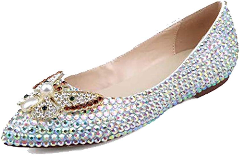 Bride color Diamond Princess shoes Shallow Mouth Bow Hand Stick Drill Flat Women's Fashion shoes Bridesmaid Dress shoes