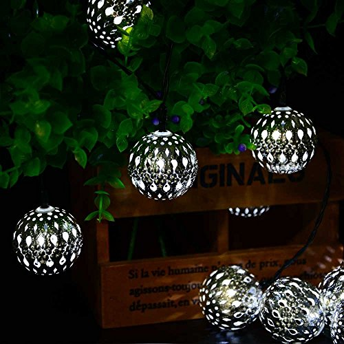 LMK Led String Lights Ledertek Solar Powered Waterproof Fairy String Lights 11Ft 3.35M 10 Led Marocchino Globo Lampada Decorativa Natalizia per Esterno, Giardino, Casa, Matrimonio, Albero di Natale F