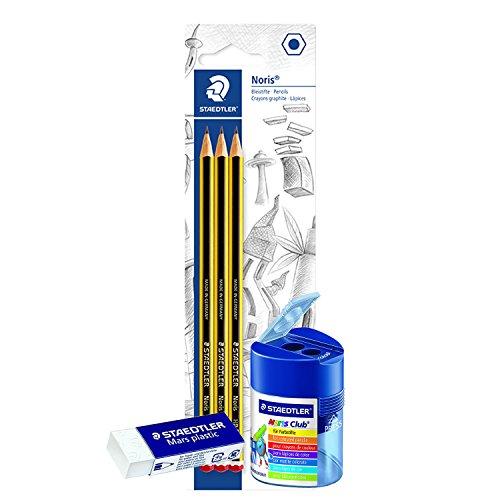 Doppelspitzdose Noris Club bis 10,2mm + Radiergummi Mars plastic Bundle + 3stk 2HB Bleistifte