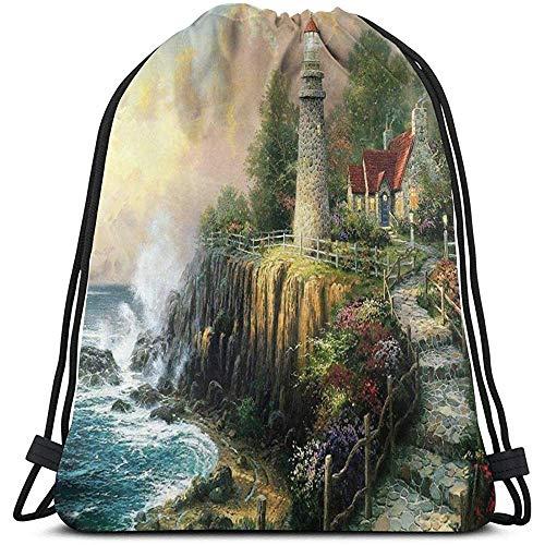 Bouia Backpack Light House Lighthouse trekkoord tas multifunctionele string rugzak duurzame cinch tas met grote capaciteit draagbare lichte opbergtas
