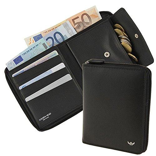 Golden Head Geldbörse, Sicherheitsbörse, Reißverschlussbörse, Polo schwarz (unisex)