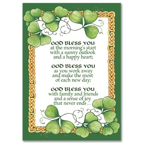 Saint Patrick's Day Blessings Relgious Greeting Card with Embossed Envelope Free Cross Bookmark
