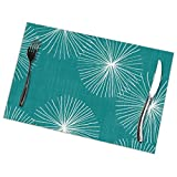 fenrris65 Dandelions M M Teal by F 12' x 18' Polyester Table Place Mat for Kitchen Dining Room Set of 6
